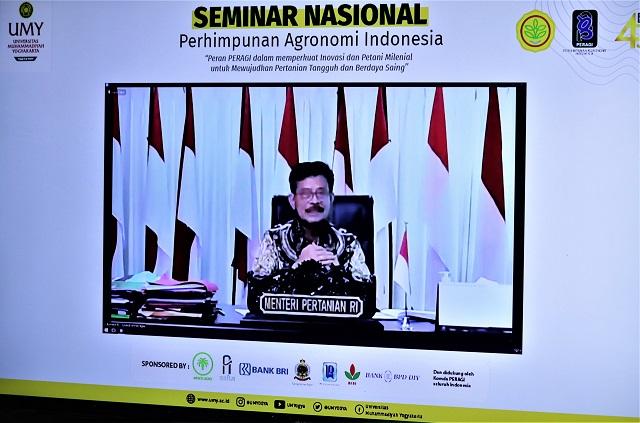 Menteri Pertanian RI Secara Daring Membuka Seminar Nasional PERAGI di Universitas Muhammadiyah Yogyakarta