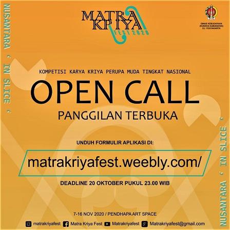 Open Call Matra Kriya Fest 2020, Masih Terbuka Bagi Seniman Kriya Dibawah Usia 35 Tahun, Hingga 30 Oktober 2020