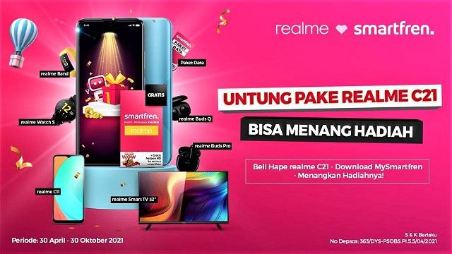 Smartfren Di Realme C21 Banyak Hadiahnya, Mulai Bonus Kuota 384 GB Hingga Smart TV