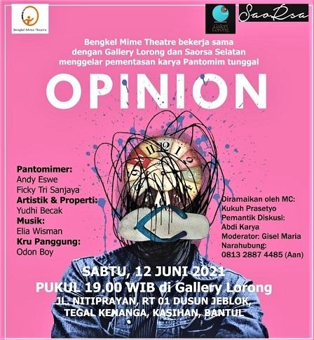 Bengkel Mime Theatre dan Saorsa Selatan Gelar Pantomim Opinion Di Gallery Lorong Yogyakarta, Sabtu Malam, 12 Juni 2021