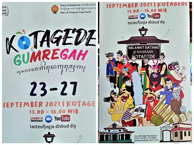 Dinas Kebudayaan DIY Gelar Festival Budaya Kotagede 2021 Secara Daring, Kotagede Gumregah, 23-27 September 2021